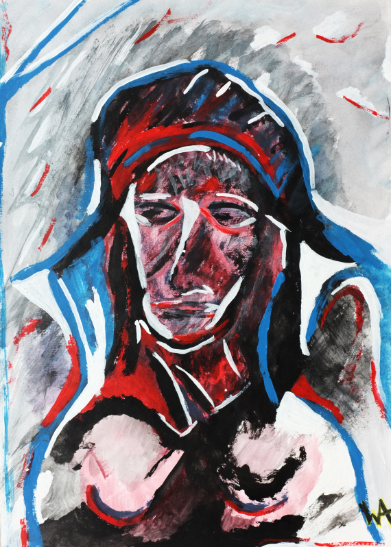 Silent Warrior, William Ankone 1986 (acryl on paper)