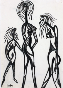 Wuman Beïngs, William Ankone 1982 (charcoal on paper)